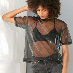 Nasty Gal Oversized Metallic Sheer Mesh T Shirt